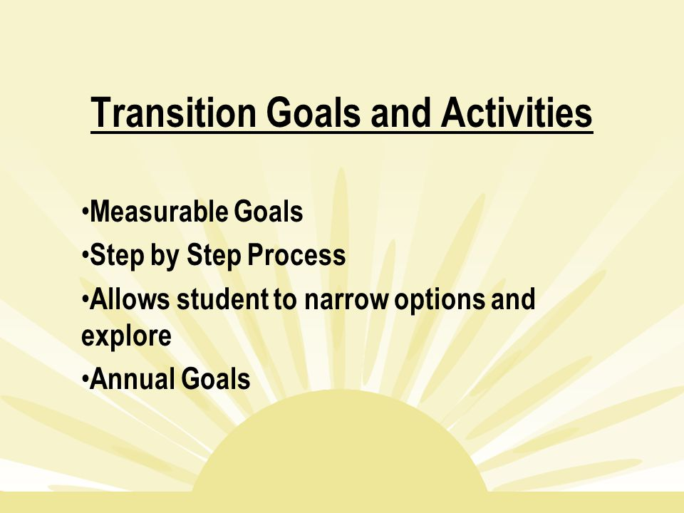 Transition Goals and Activities Measurable Goals Step by Step Process Allows student to narrow options and explore Annual Goals