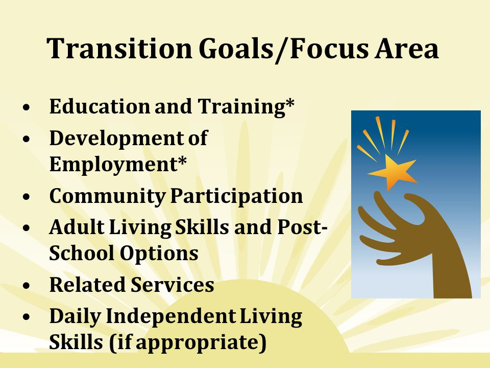 Transition Goals/Focus Area Education and Training* Development of Employment* Community Participation Adult Living Skills and Post- School Options Re