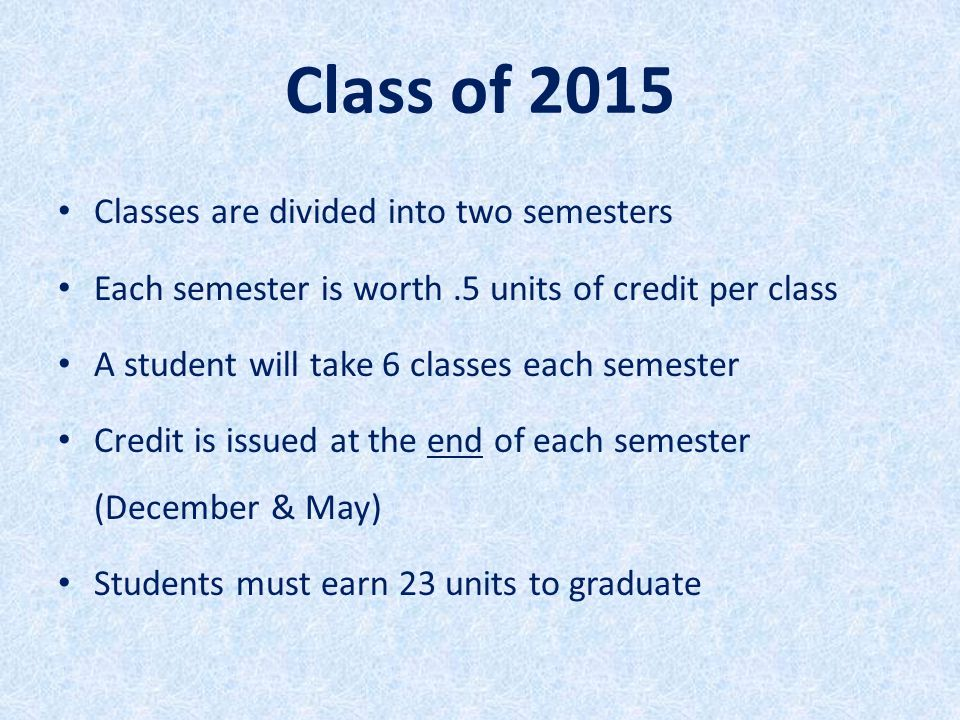 Class of 2015 Classes are divided into two semesters Each semester is worth.5 units of credit per class A student will take 6 classes each semester Cr