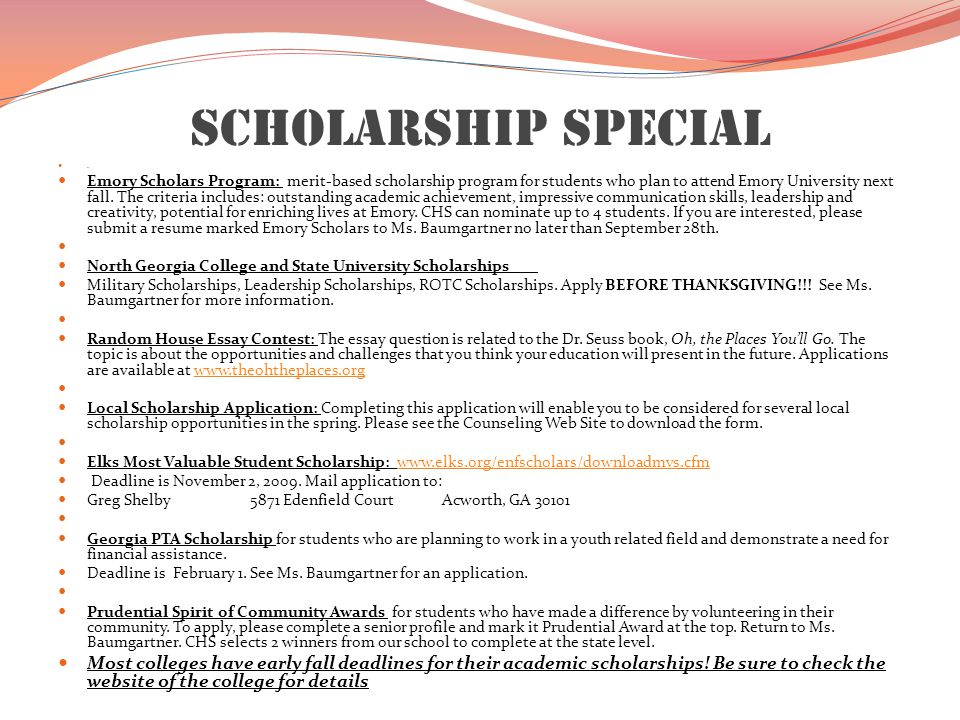 Scholarship Special.