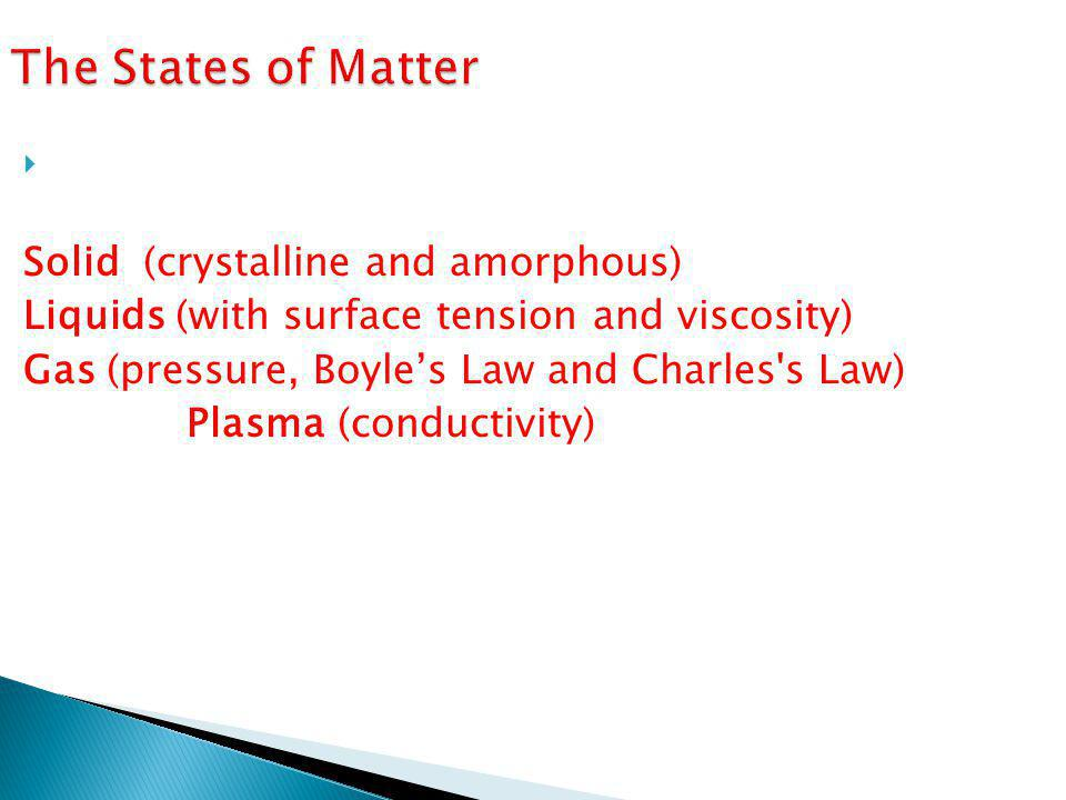 The States of Matter  States of matter are the physical forms in which a substance can exist: Solid (crystalline and amorphous) Liquids (with surface tension and viscosity) Gas (pressure, Boyle's Law and Charles s Law) Plasma (conductivity)