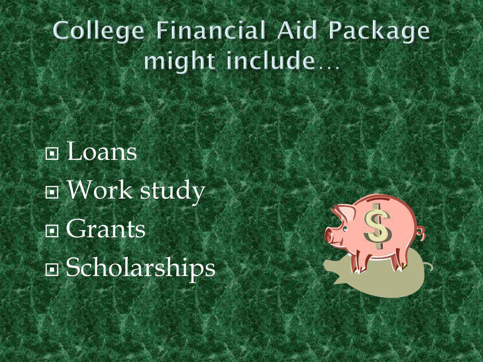  Loans  Work study  Grants  Scholarships