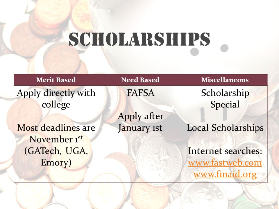 Scholarships Merit BasedNeed BasedMiscellaneous Apply directly with college Most deadlines are November 1 st (GATech, UGA, Emory) FAFSA Apply after Ja