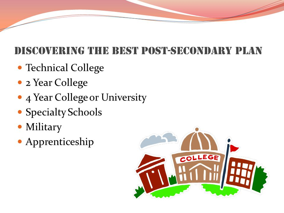 Discovering the Best Post-Secondary Plan Technical College 2 Year College 4 Year College or University Specialty Schools Military Apprenticeship