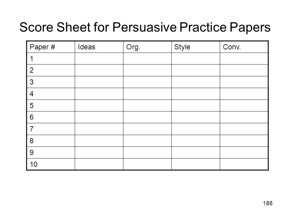186 Score Sheet for Persuasive Practice Papers Paper #IdeasOrg.StyleConv. 1 2 3 4 5 6 7 8 9 10