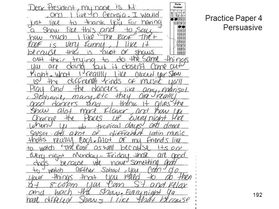 192 Practice Paper 4 Persuasive
