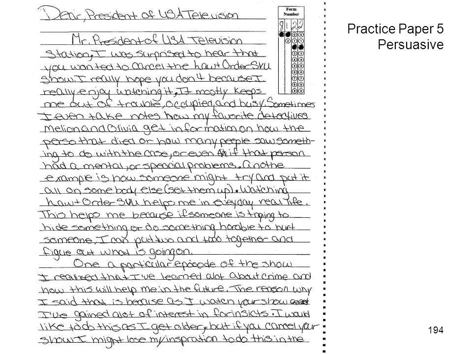 194 Practice Paper 5 Persuasive