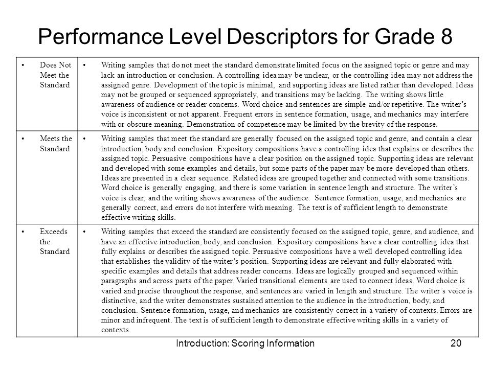 Introduction: Scoring Information20 Performance Level Descriptors for Grade 8 Does Not Meet the Standard Writing samples that do not meet the standard demonstrate limited focus on the assigned topic or genre and may lack an introduction or conclusion.