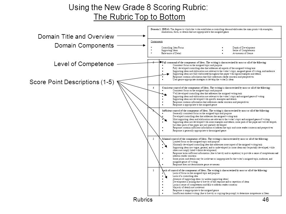 Rubrics46 Using the New Grade 8 Scoring Rubric: The Rubric Top to Bottom Domain Title and Overview Domain Components Level of Competence Score Point Descriptions (1-5) 5Full command of the components of Ideas.