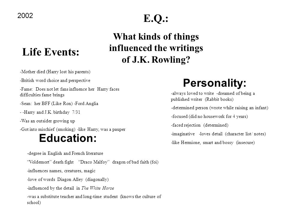 Life Events: E.Q.: What kinds of things influenced the writings of J.K. Rowling? Personality: Education: -Mother died (Harry lost his parents) -Britis