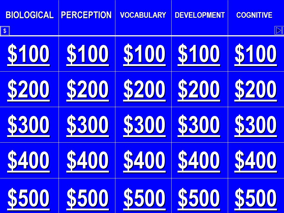 Perception - $500 The smallest amount of a particular stimulus that can be detected.