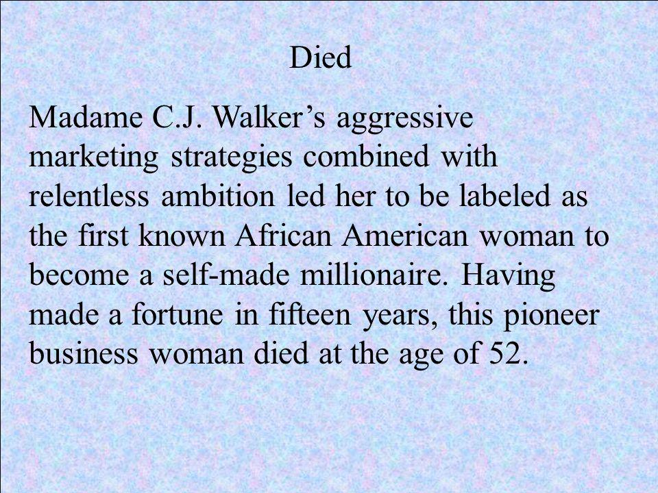 Died Madame C.J.