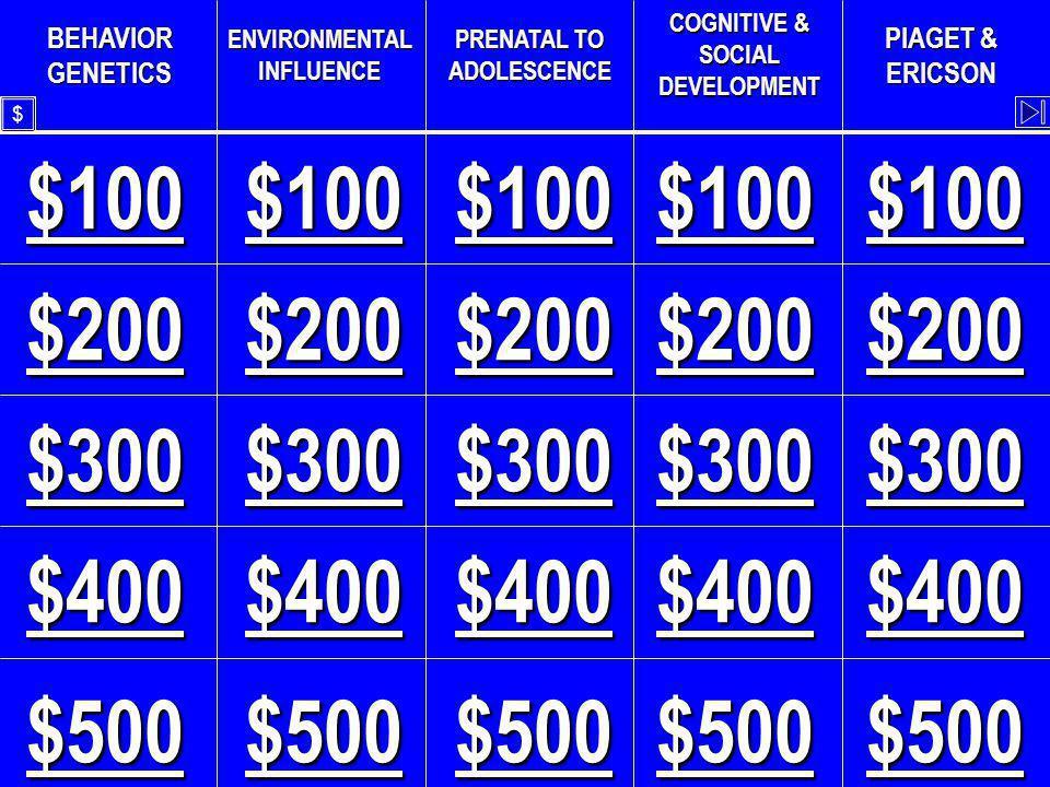 BEHAVIOR GENETICS ENVIRONMENTAL INFLUENCE PRENATAL TO ADOLESCENCE COGNITIVE & SOCIAL DEVELOPMENT PIAGET & ERICSON $100 $300 $200 $400 $500 $