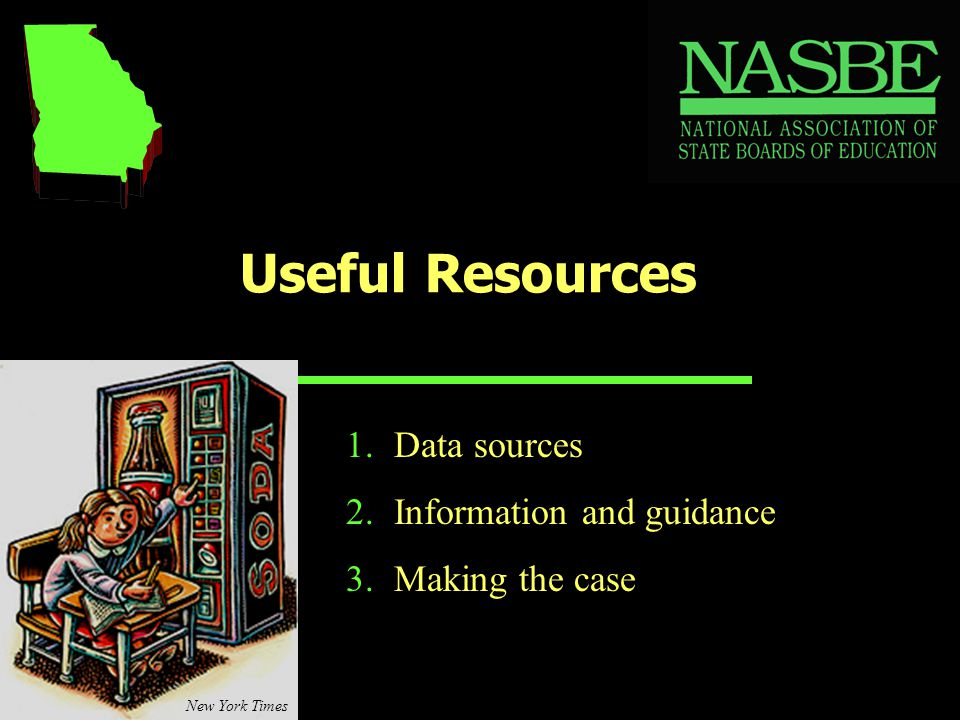 Useful Resources 1.Data sources 2.Information and guidance 3.Making the case New York Times