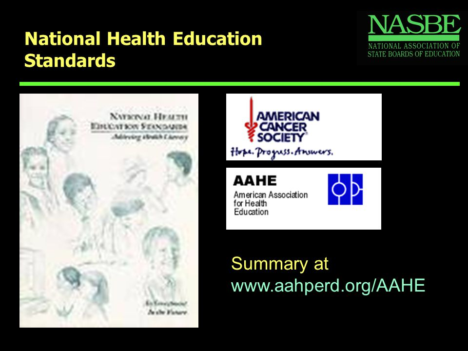 National Health Education Standards Summary at www.aahperd.org/AAHE