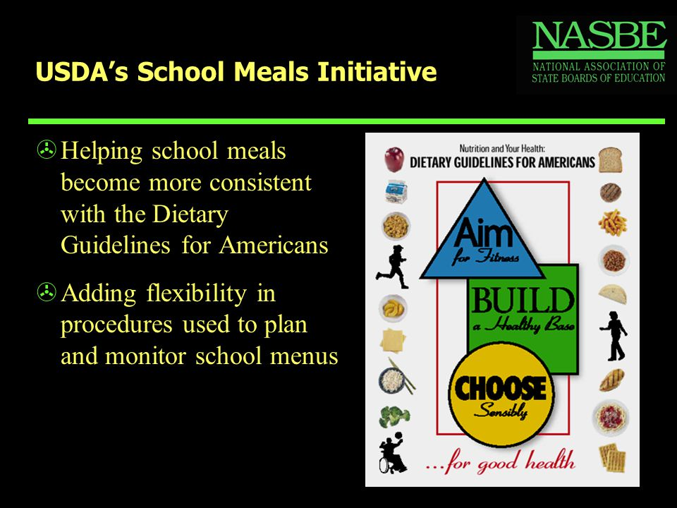 USDA's School Meals Initiative >Helping school meals become more consistent with the Dietary Guidelines for Americans >Adding flexibility in procedures used to plan and monitor school menus