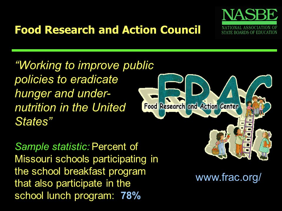 "Food Research and Action Council www.frac.org/ ""Working to improve public policies to eradicate hunger and under- nutrition in the United States"" Samp"