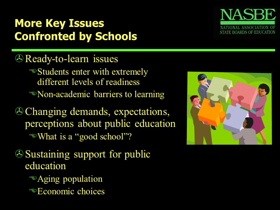 More Key Issues Confronted by Schools >Ready-to-learn issues EStudents enter with extremely different levels of readiness ENon-academic barriers to learning >Changing demands, expectations, perceptions about public education EWhat is a good school .