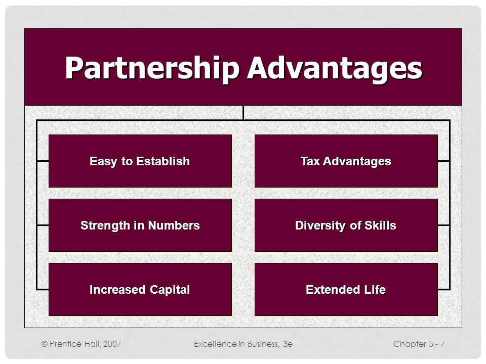 © Prentice Hall, 2007Excellence in Business, 3eChapter 5 - 7 Easy to Establish Tax Advantages Strength in Numbers Diversity of Skills Extended Life Increased Capital Partnership Advantages
