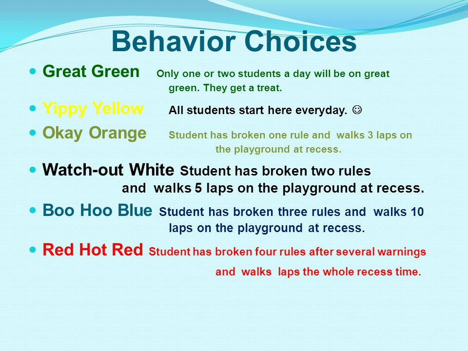 Behavior Choices Great Green Only one or two students a day will be on great green.
