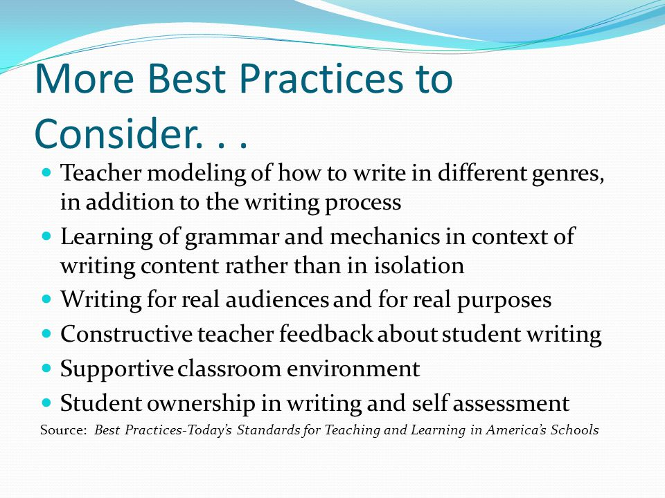 More Best Practices to Consider...