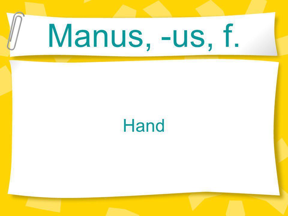 Manus, -us, f. Hand