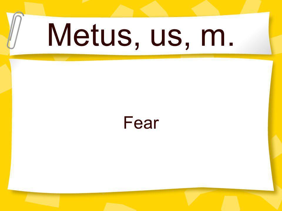 Metus, us, m. Fear