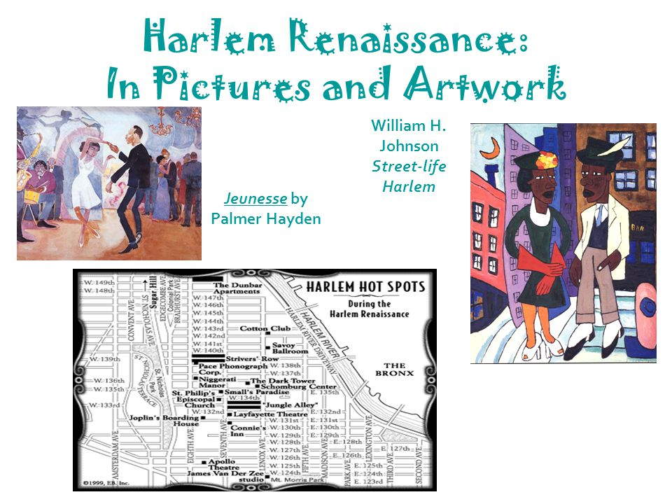 Harlem Renaissance: In Pictures and Artwork Jeunesse by Palmer Hayden William H. Johnson Street-life Harlem