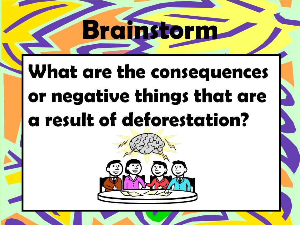 Brainstorm What are the consequences or negative things that are a result of deforestation