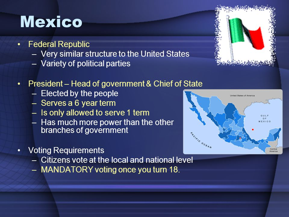 Federal Republic –Very similar structure to the United States –Variety of political parties President – Head of government & Chief of State –Elected b