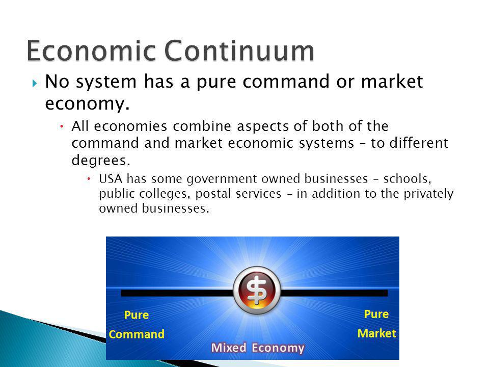  No system has a pure command or market economy.  All economies combine aspects of both of the command and market economic systems – to different de