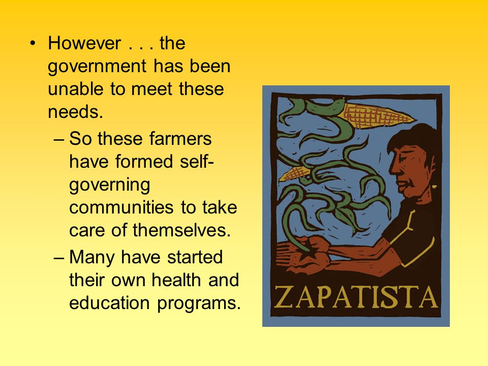 However... the government has been unable to meet these needs. –So these farmers have formed self- governing communities to take care of themselves. –