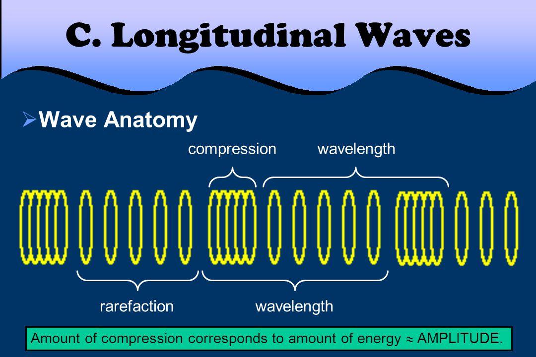 C. Longitudinal Waves  Wave Anatomy rarefaction compression wavelength Amount of compression corresponds to amount of energy  AMPLITUDE.