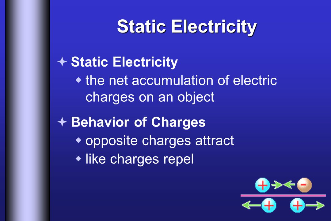 Static Electricity  Static Electricity  the net accumulation of electric charges on an object  Behavior of Charges  opposite charges attract  lik