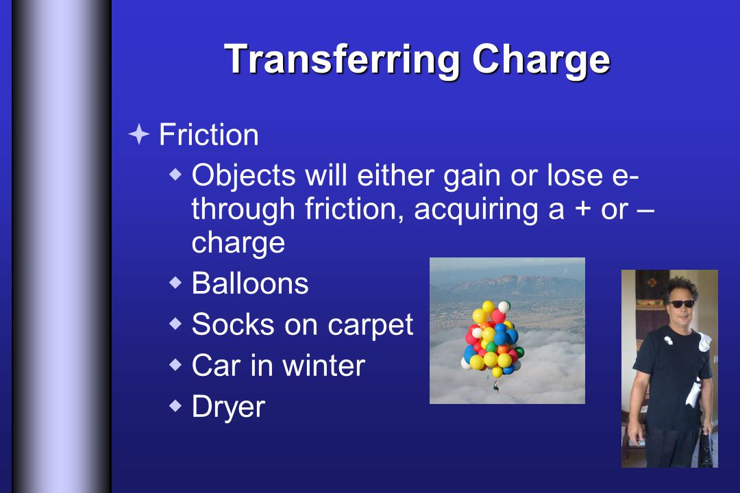 Transferring Charge  Friction  Objects will either gain or lose e- through friction, acquiring a + or – charge  Balloons  Socks on carpet  Car in