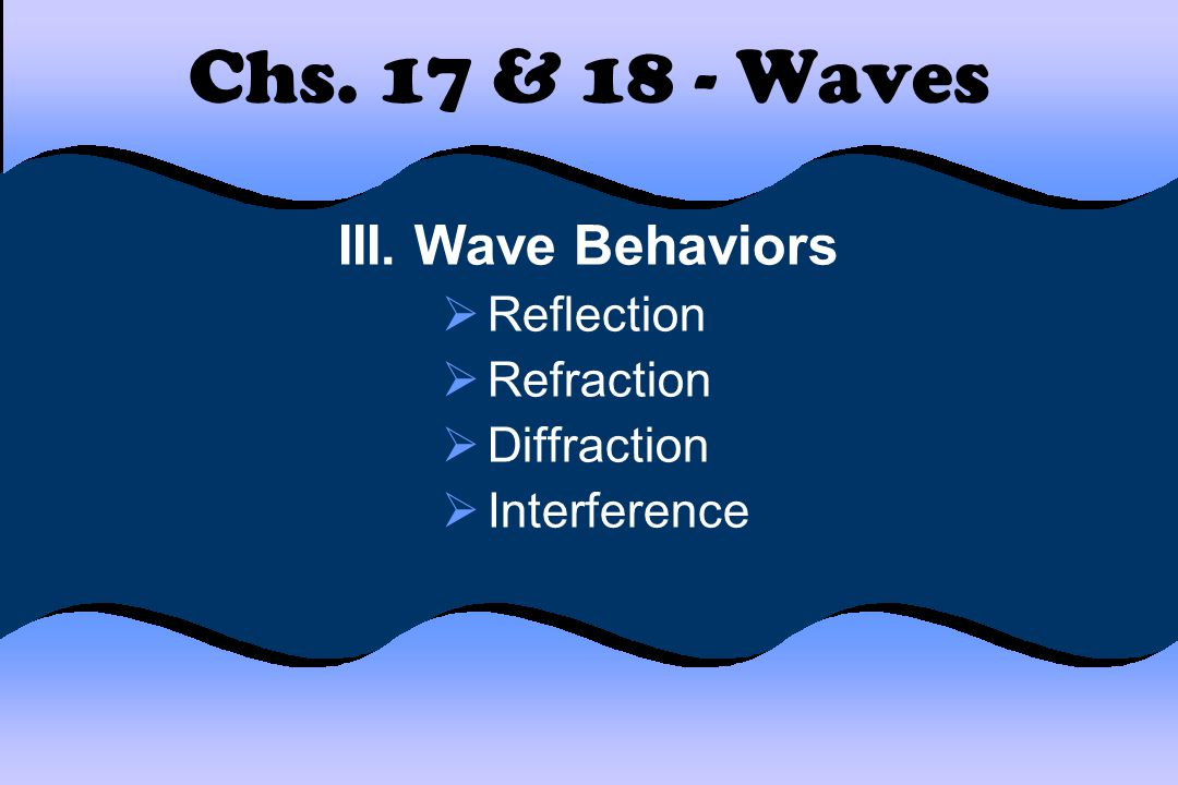 Chs. 17 & 18 - Waves III. Wave Behaviors  Reflection  Refraction  Diffraction  Interference