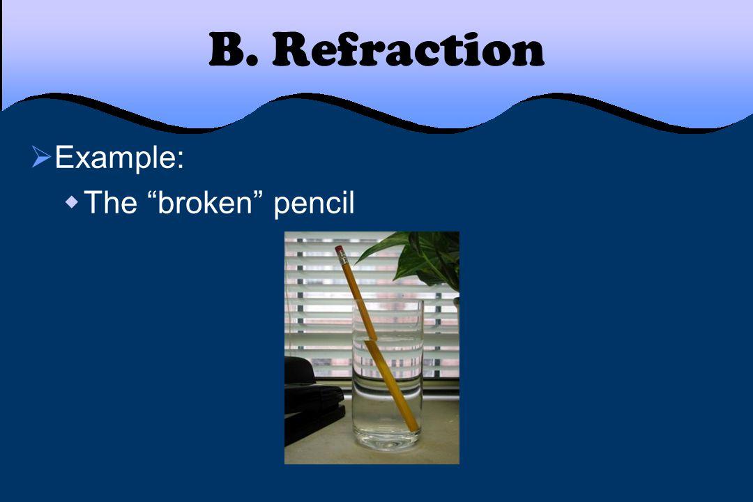 "B. Refraction  Example:  The ""broken"" pencil"