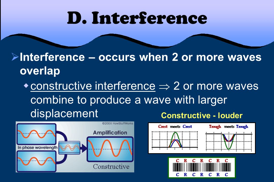D. Interference  Interference – occurs when 2 or more waves overlap  constructive interference  2 or more waves combine to produce a wave with larg