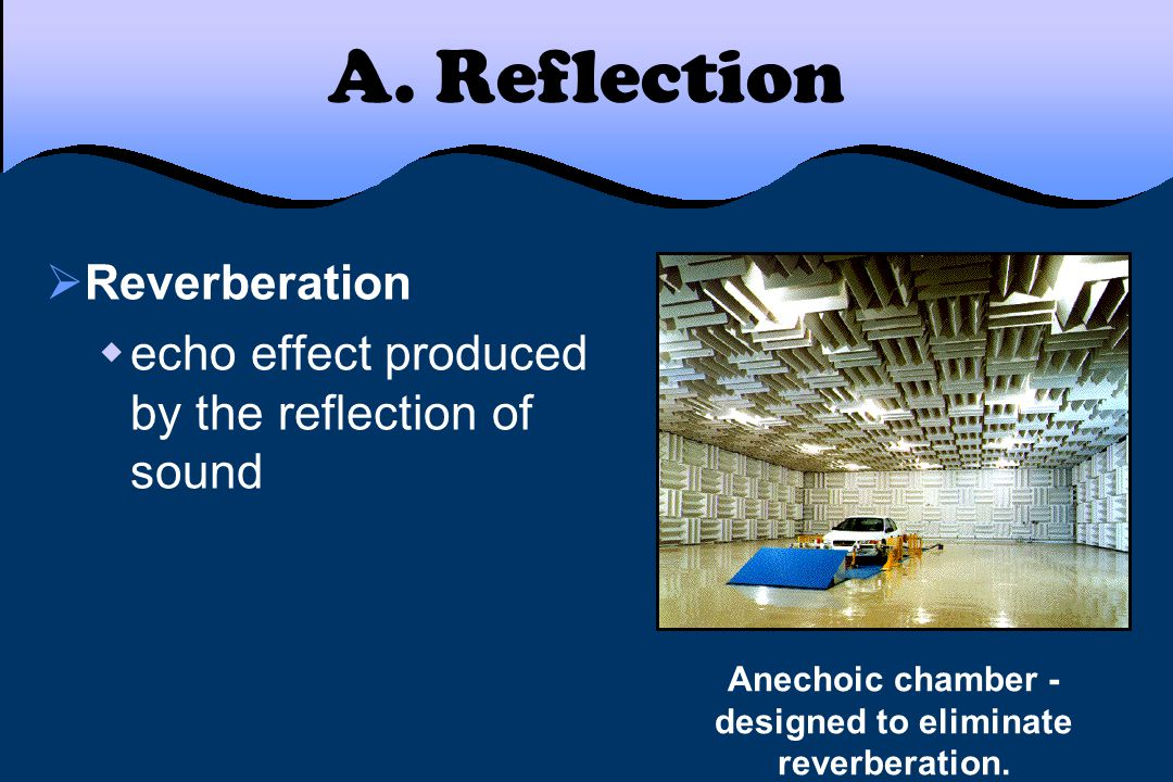 A. Reflection  Reverberation  echo effect produced by the reflection of sound Anechoic chamber - designed to eliminate reverberation.
