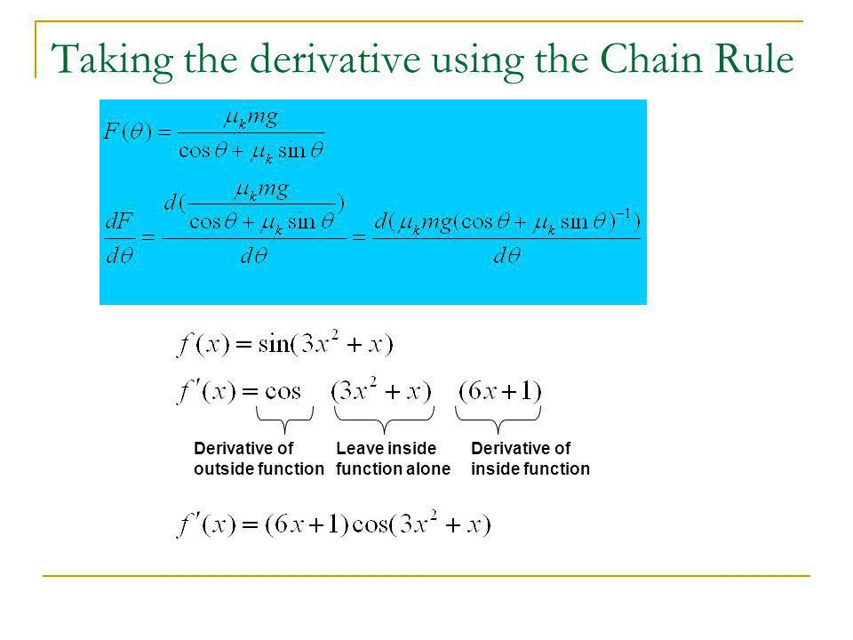 Taking the derivative using the Chain Rule Derivative of outside function Leave inside function alone Derivative of inside function