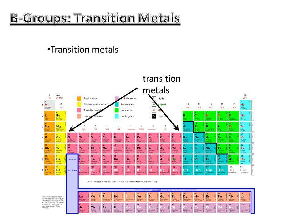 Transition metals transition metals