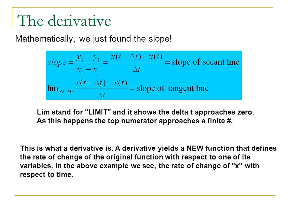 The derivative Mathematically, we just found the slope! Lim stand for