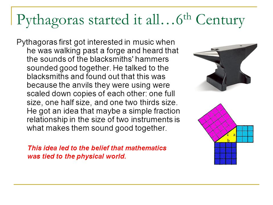 Pythagoras started it all…6 th Century Pythagoras first got interested in music when he was walking past a forge and heard that the sounds of the blac