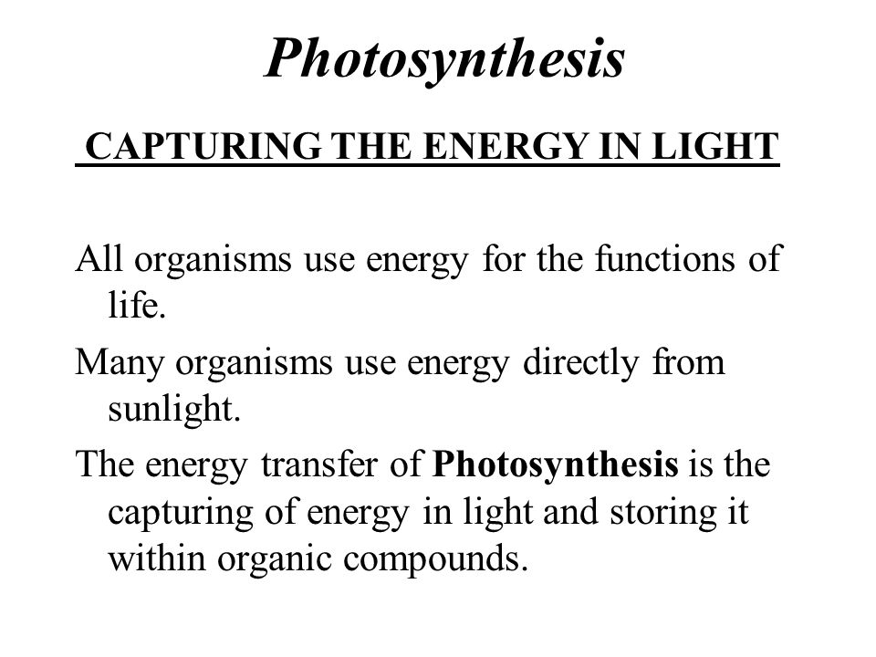 Photosynthesis CAPTURING THE ENERGY IN LIGHT All organisms use energy for the functions of life.