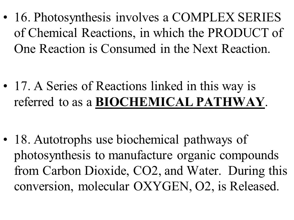 16. Photosynthesis involves a COMPLEX SERIES of Chemical Reactions, in which the PRODUCT of One Reaction is Consumed in the Next Reaction. 17. A Serie