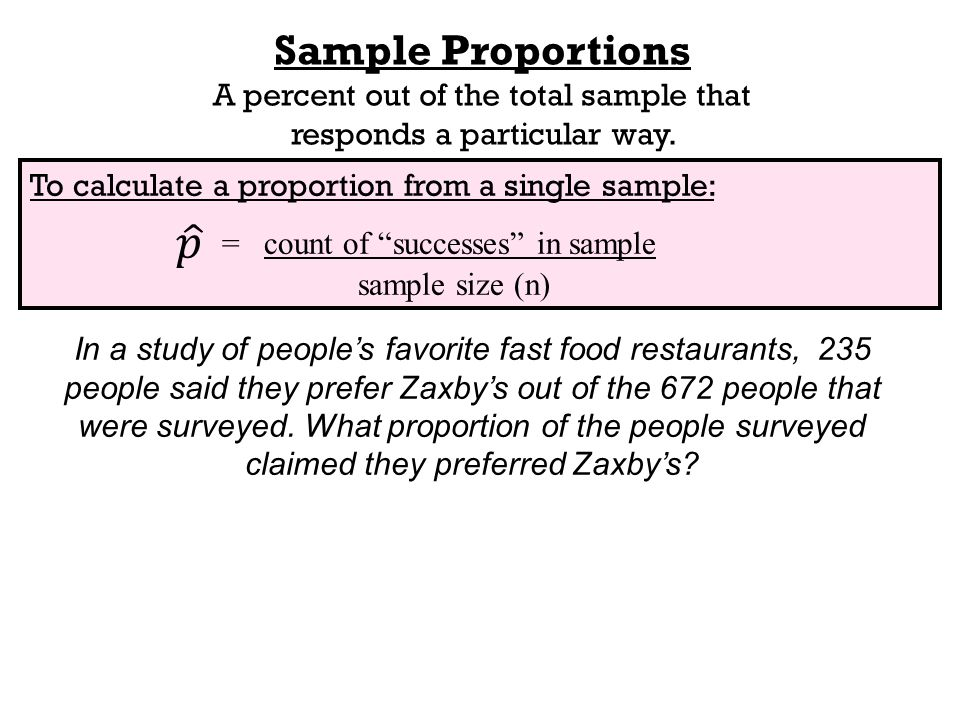 To calculate a proportion from a single sample: = count of successes in sample sample size (n) Sample Proportions A percent out of the total sample that responds a particular way.