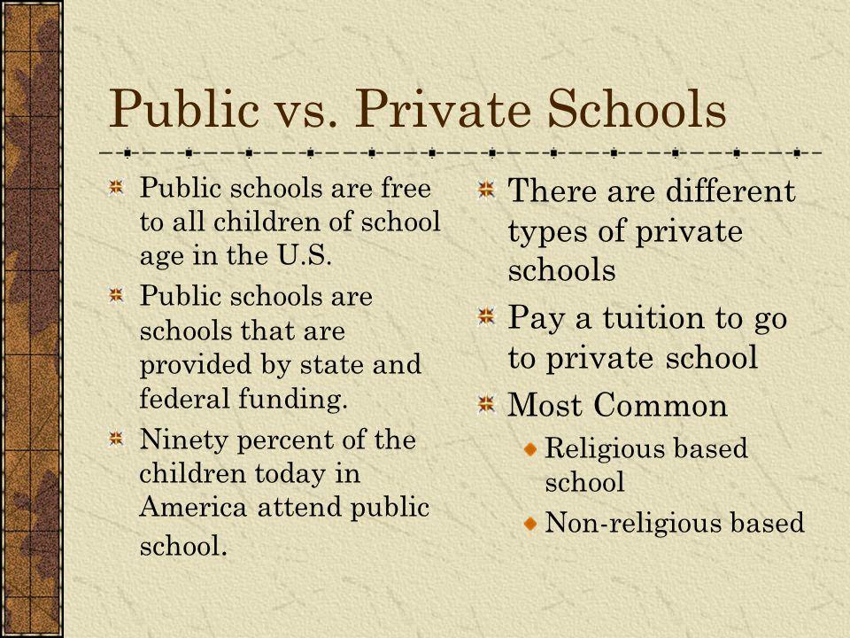 Public vs. Private Schools Public schools are free to all children of school age in the U.S. Public schools are schools that are provided by state and