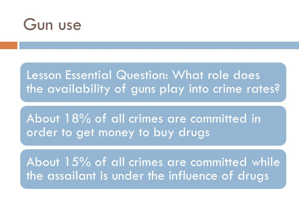 Gun use Lesson Essential Question: What role does the availability of guns play into crime rates.