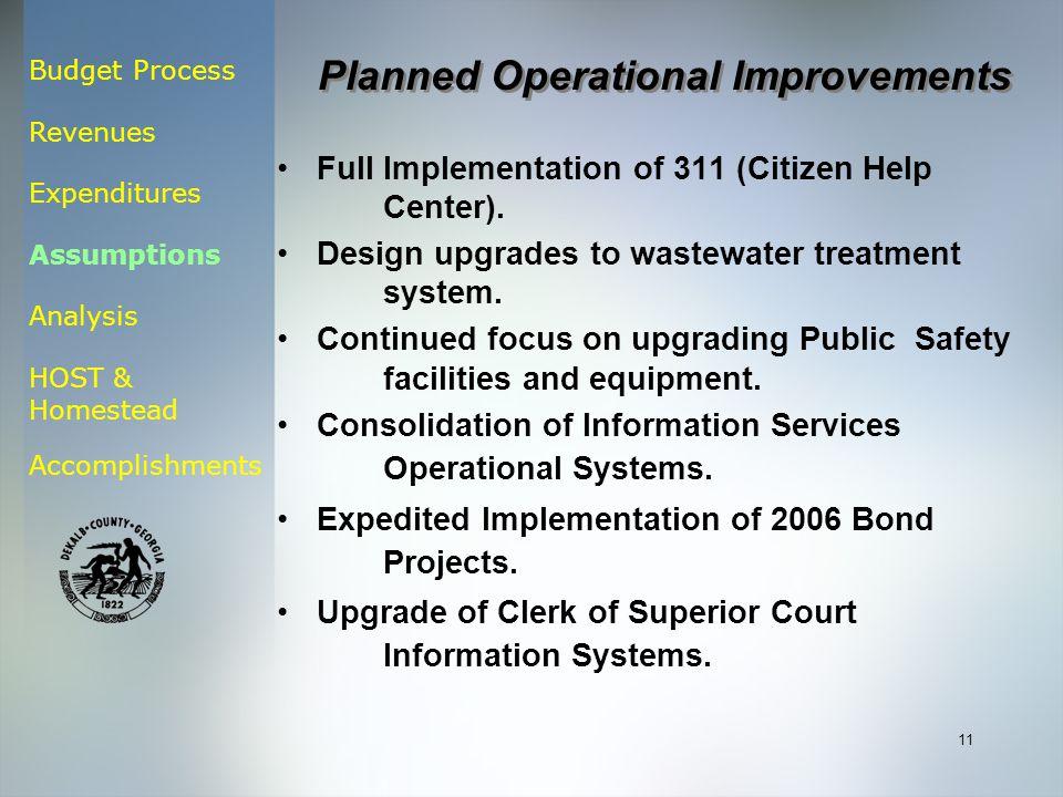 Budget Process Revenues Expenditures Assumptions Analysis HOST & Homestead Accomplishments 11 Full Implementation of 311 (Citizen Help Center).