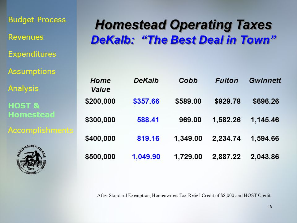 Budget Process Revenues Expenditures Assumptions Analysis HOST & Homestead Accomplishments 18 Home Value DeKalbCobbFultonGwinnett $200,000$357.66$589.00 $929.78 $696.26 $300,000 588.41 969.001,582.261,145.46 $400,000 819.161,349.002,234.741,594.66 $500,0001,049.901,729.002,887.222,043.86 After Standard Exemption, Homeowners Tax Relief Credit of $8,000 and HOST Credit.
